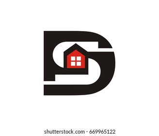 DS letter logo template for real estate company