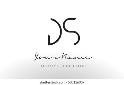 DS Letters Logo Design Slim. Simple and Creative Black Letter Concept Illustration.