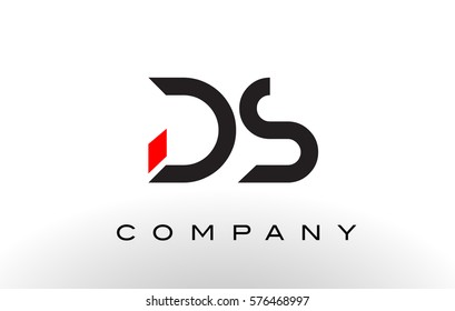 DS Logo.  Letter Design Vector with Red and Black Colors.
