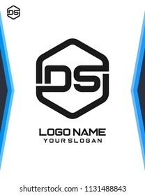 DS logo letter initial, Abstract polygonal Background Logo,