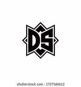 DS monogram logo with square rotate style outline design template