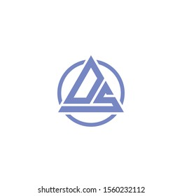 DS or SD triangle letter logo design with circle .