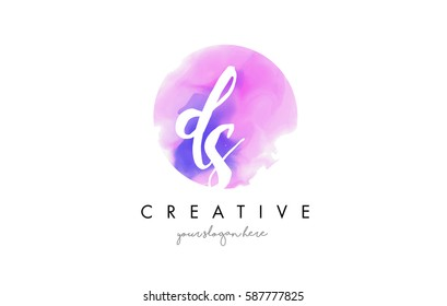 DS Watercolor Letter Logo Design with Purple Rounded Aquarelle Brush Stroke.