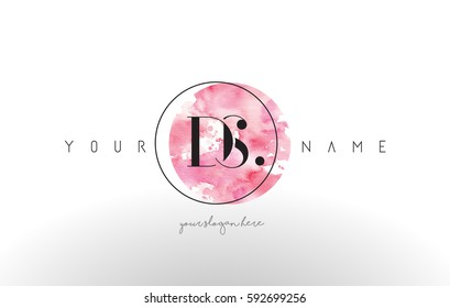DS Watercolor Letter Logo Design with Circular Pink Brush Stroke.