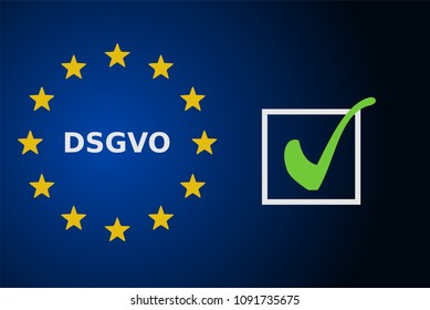 DSGVO concept with check mark, vector illustration