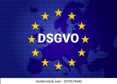 dsgvo - german Datenschutz-Grundverordnung. gdpr - General Data Protection Regulation. vector illustration. europe map