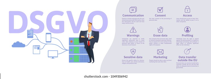 DSGVO, german version of GDPR: Datenschutz-Grundverordnung. Concept vector illustration. General Data Protection Regulation. The protection of personal data. Server and security guard.