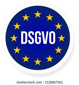 DSGVO sign illustration. General Data Protection Regulation - GDPR. German text: DSGVO - EU-Datenschutz Grundverordnung. Vector illustration