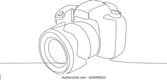 Digitale Vektorillustration der DSLR-Kamera mit einer durchgängigen, einzeiligen Zeichnung. Minimaler Kunststil. Konzept der Fotografie Ausrüstung kontinuierliche Linie ziehen Design-Illustration.