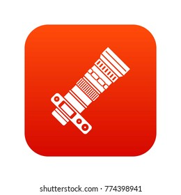 Dslr camera with zoom lens icon digital red for any design isolated on white vector illustration