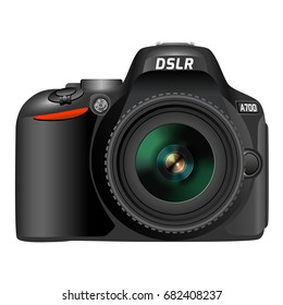 DSLR digital photo camera. 3D realistic image. Front side with lens. Vector illustration isolated on a white.