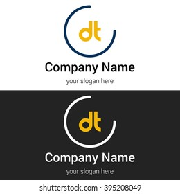 DT business logo icon design template elements. Vector color sign.