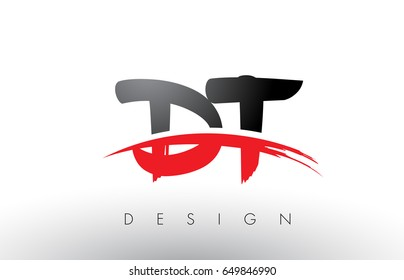 DT D T Brush Logo Letters Design with Red and Black Colors and Brush Letter Concept.