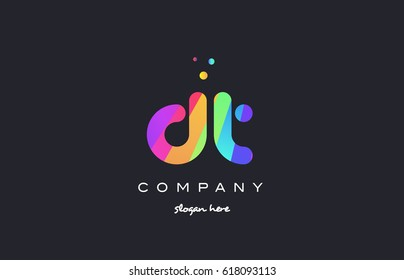 dt d t  creative rainbow green orange blue purple magenta pink artistic alphabet company letter logo design vector icon template