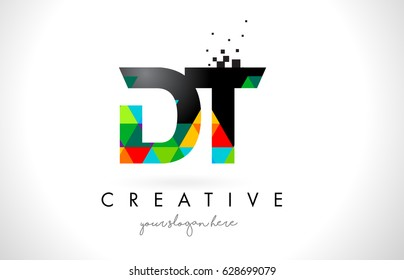 DT D T Letter Logo with Colorful Vivid Triangles Texture Design Vector Illustration.