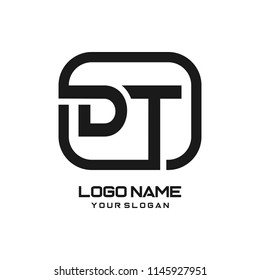 DT initial box letter logo template vector