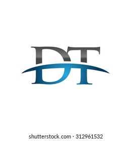 DT initial company blue swoosh logo