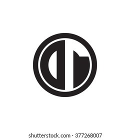 DT initial letters circle monogram logo