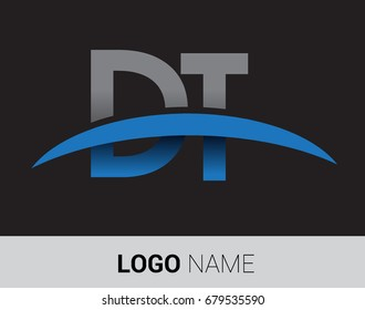 DT initial logo company name colored grey and blue swoosh design.