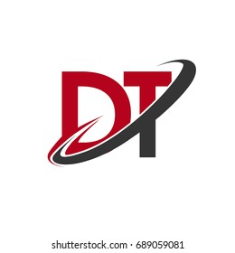 DT initial logo company name colored red and black swoosh design, isolated on white background. vector logo for business and company identity