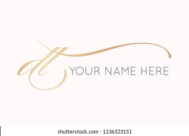 DT initial logo.Monogram of the letters d&t in cursive elegant handwriting. Vector icon in golden color palette isolated on rose color background.