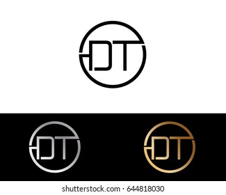 Dt Logo. Letter Design Vector with Red and Black Silver, Gold Colors