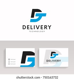 DT logo sign company icon with brand business card.