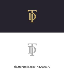 DT or TD initial luxury ornament monogram logo
