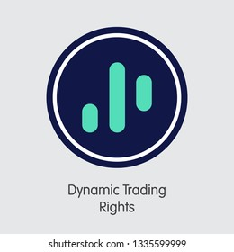 DTR - Dynamic Trading Rights. The Trade Logo or Emblem of Virtual Currency, Market Emblem, ICOs Coins and Tokens Icon.