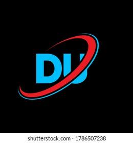 DU D U letter logo design. Initial letter DU linked circle uppercase monogram logo red and blue. DU logo, D U design. du, d u