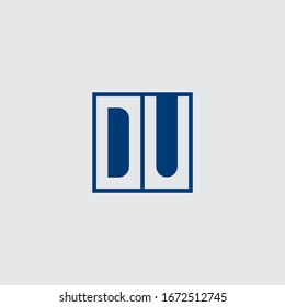 DU,  D and U, Uppercase Letter Initial flat and clean Logo Design Template Vector Illustration