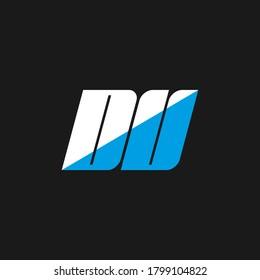 DU letter logo design on black background. DU creative initials letter logo concept. du icon design. DU white and blue letter icon design on black background. D U