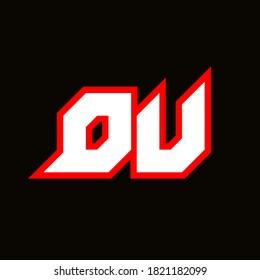 DU logo design, initial DU letter design with sci-fi style. DU logo for game, esport, Technology, Digital, Community or Business. D U sport modern Italic alphabet font. Typography urban style fonts.