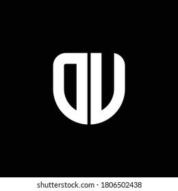 du logo monogram with circular shape shield design template