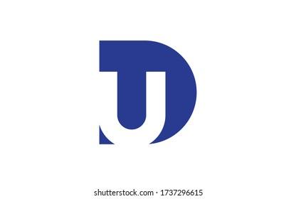 DU or UD Letter Initial Logo Design, Vector Template