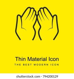 Dua Hands bright yellow material minimal icon or logo design