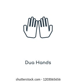Dua Hands concept line icon. Linear Dua Hands concept outline symbol design. This simple element illustration can be used for web and mobile UI/UX.