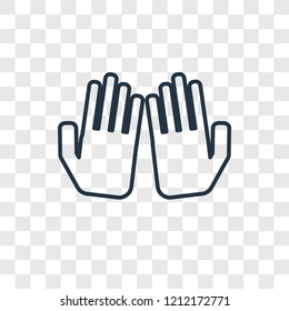 Dua Hands concept vector linear icon isolated on transparent background, Dua Hands concept transparency concept in outline style