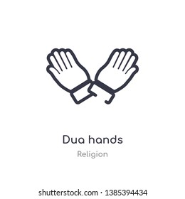 dua hands outline icon. isolated line vector illustration from religion collection. editable thin stroke dua hands icon on white background