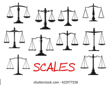 Dual balance scales icons with vintage mechanical beam balance scales with decorative stands, figured levers and weighing pans. Scales of justice and balance themes design usage