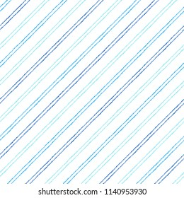 Dual, doubled, twin diagonal parallel stripes, pinstripes seamless repeat pattern. Brush, chalk drawn navy blue oblique, tilted thin lines, inclined streaks, bars background. Striped dynamic texture.