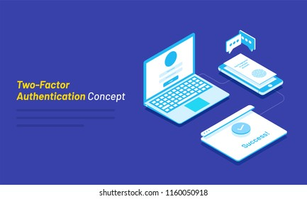 Dual Factor Authentication concept based isometric design, laptop with login window connected with smartphone on blue background for Two Factor Authentication concept.