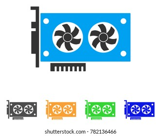 Dual Gpu Videocard icon. Vector illustration style is a flat iconic dual gpu videocard symbol with gray, green, blue, yellow color versions. Designed for web and software interfaces.
