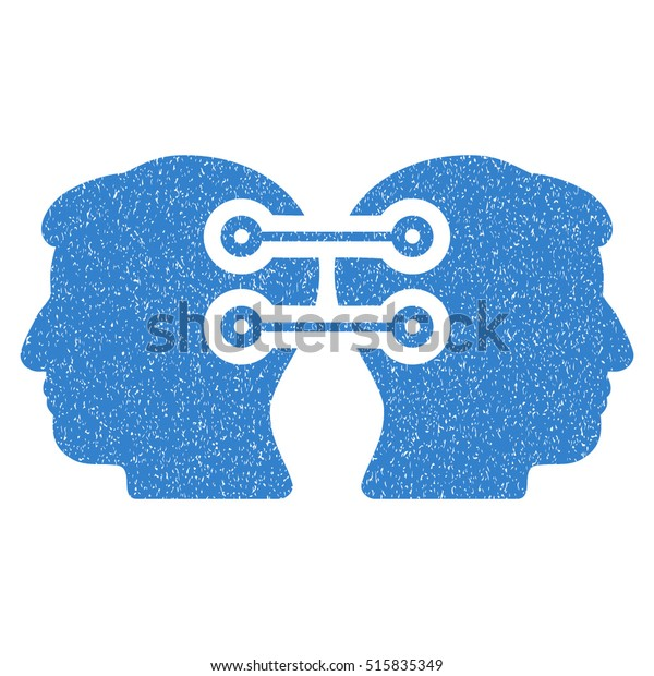 Dual Heads Interface Connection grainy textured icon for overlay watermark stamps. Flat symbol with dirty texture. Dotted vector cobalt ink rubber seal stamp with grunge design on a white background.