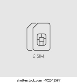 Dual SIM icon sign. Double SIM card symbol vector illustration. Dual band smartphone picture.
