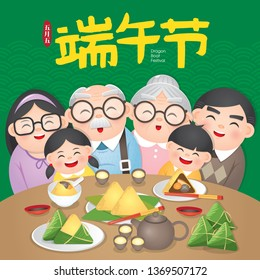 The Duanwu Festival, also often known as the Dragon Boat Festival. Vector Illustration with happy family together enjoy the Zongzi, also known as rice dumplings or sticky rice dumplings.