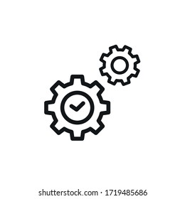 Duartion Gear icon, Settings Symbol- vector sign isolated on white background