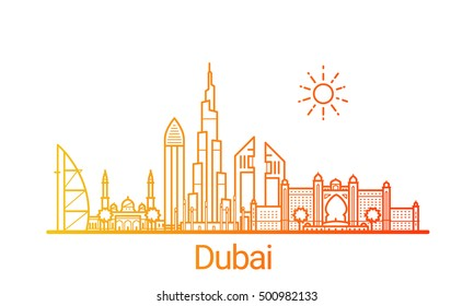 Dubai city colored gradient line. All Dubai buildings - customizable objects with opacity mask, so you can simple change composition and background fill. Line art.