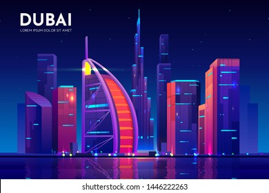 Dubai city with hotel tower skyline, neon illumination. UAE night cityscape architecture background, modern megapolis at Persian Gulf waterfront. Cartoon vector illustration