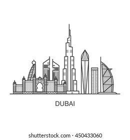 Dubai city line art illustration with all famous towers: Burj Khalifa, Burj Al Arab, Emirates Towers.